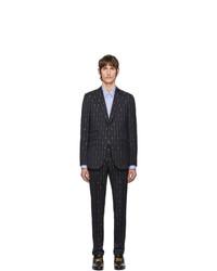 Abito di lana a righe verticali blu scuro di Gucci