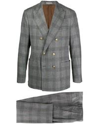 Abito di lana scozzese grigio di Brunello Cucinelli