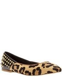 Ballerine in pelle scamosciata leopardate marrone chiaro