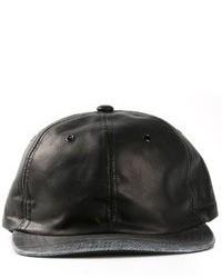Berretto da baseball in pelle nero