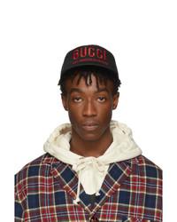 Berretto da baseball stampato nero di Gucci