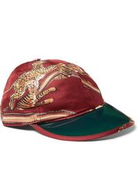Berretto da baseball stampato rosso di Gucci