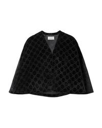 Blazer a mantella di velluto nero di Gucci