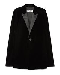 Blazer a mantella di velluto nero di Saint Laurent