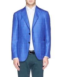 Blazer a quadri blu