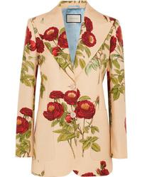 Blazer di lana a fiori marrone chiaro di Gucci