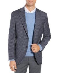 Blazer di lana a quadretti blu scuro