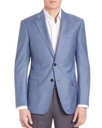 Blazer di lana a quadri azzurro