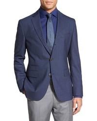 Blazer di lana a quadri blu scuro