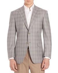 Blazer di lana a quadri grigio