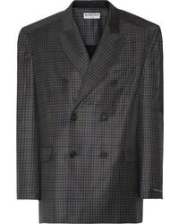 Blazer di lana a quadri grigio scuro