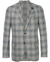 Blazer di lana a quadri grigio di Lardini