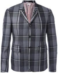 Blazer di lana a quadri grigio di Thom Browne