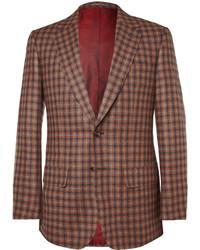 Blazer di lana a quadri marrone