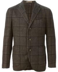 Blazer di lana a quadri marrone scuro