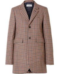 Blazer di lana a quadri marrone di Balenciaga