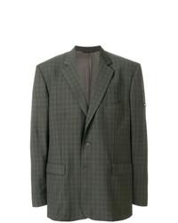 Blazer di lana a quadri verde oliva di Balenciaga