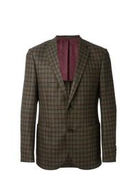 Blazer di lana a quadri verde oliva di Fashion Clinic Timeless