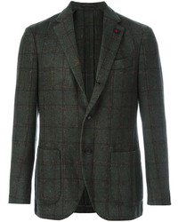 Blazer di lana a quadri verde scuro