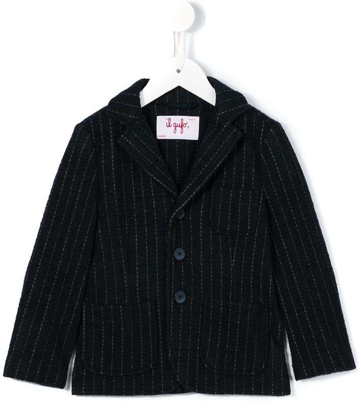 Blazer di lana a righe verticali blu scuro di Il Gufo