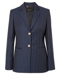 Blazer di lana a righe verticali blu scuro di Versace