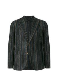 Blazer di lana a righe verticali marrone scuro di Tagliatore