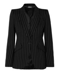 Blazer di lana a righe verticali nero e bianco di Alexander McQueen