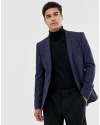 Blazer di lana blu scuro di ASOS DESIGN