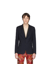 Blazer di lana blu scuro di Dries Van Noten