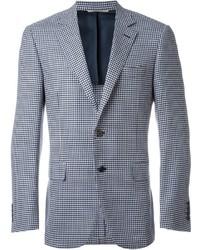 Blazer di lana con motivo pied de poule azzurro