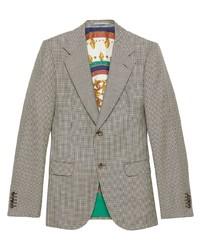 Blazer di lana con motivo pied de poule grigio di Gucci