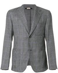 Blazer di lana con motivo pied de poule grigio di Massimo Alba