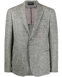 Blazer di lana con motivo pied de poule grigio di Z Zegna