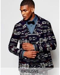 Blazer di lana geometrico blu scuro di Reclaimed Vintage