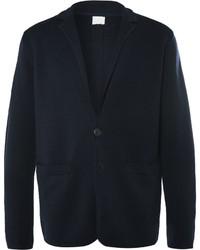 Blazer di lana lavorato a maglia blu scuro