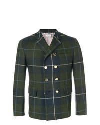 Blazer di lana scozzese blu scuro di Thom Browne