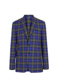 Blazer di lana scozzese blu di Burberry