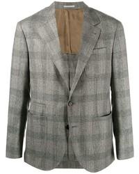 Blazer di lana scozzese grigio di Brunello Cucinelli