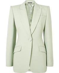 Blazer di lana verde menta di Alexander McQueen