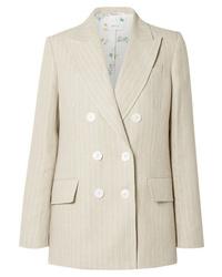 Blazer di lino a righe verticali beige