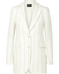 Blazer di lino a righe verticali bianco di Akris