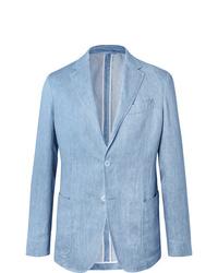 Blazer di lino azzurro di Ermenegildo Zegna