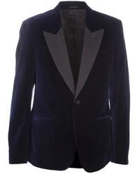 Blazer di velluto blu scuro di Alexander McQueen