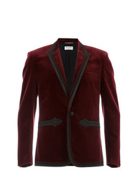 Blazer di velluto bordeaux di Saint Laurent