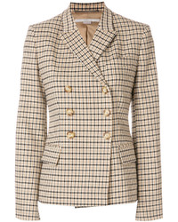 Blazer doppiopetto a quadri marrone chiaro di Stella McCartney