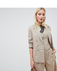 Blazer doppiopetto a quadri marrone chiaro di UNIQUE21