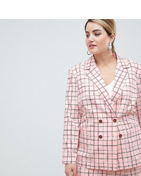 Blazer doppiopetto a quadri rosa di Unique 21 Hero Plus
