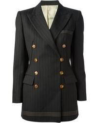 d85215baf70b Cappotto a righe verticali blu scuro Blazer doppiopetto a righe verticali  nero