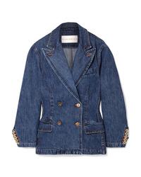 Blazer doppiopetto di jeans blu scuro di Matthew Adams Dolan