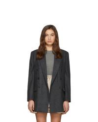 Blazer doppiopetto di lana a quadri grigio scuro di Isabel Marant Etoile
